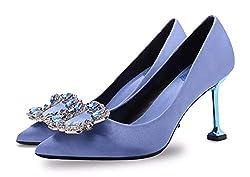 Blue Rhinestone Closed Pointed Toe Stilettos High Heel Slip-on
