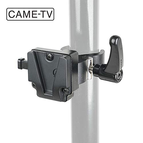 CAME-TV V Mount Clamp V-Mount/V-Lock Battery Adapter for Light Stand Tripod via The Clamp Crab Clip Open Range Max.1.65in Payload up to 8.8lb