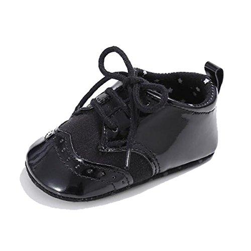 C&H Unisex Infant Baby Soft Tassels Non-Slip Prewalker Moccasins Shoes (11cm(0-6Months), 0110 (Black Leather Formal Slip)
