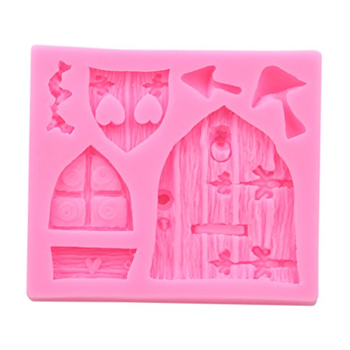 LALANG Fairy Tale Cottage Silicone Mold Mushroom Window Door Fondant Cake Decorations Chocolate Baking Tool ()