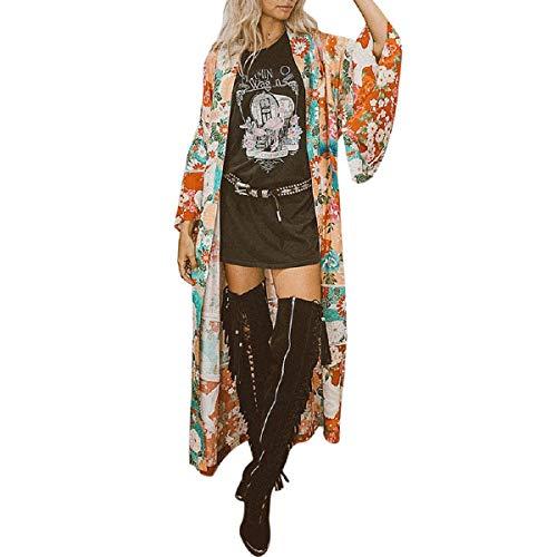 - OTINICE Womens Long Duster Kimono Chiffon Floral Loose Cardigan Sun Protectin Cover up Blouse Orange