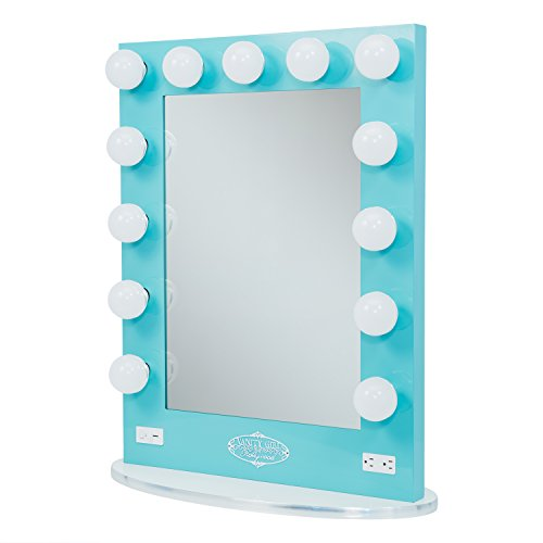 Vanity Girl Broadway Lighted Vanity Mirror with 2 Outlets and Dimmer Switch - 13 Makeup-Ready ...