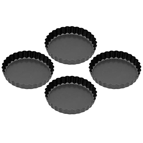 Small Round Fluted Tart Tin/Quiche Pans, Cake Flan Dish with Loose Bases Tray Non-stick Baking Pan Mould Tool, Pack of 4 Piece(Dark grey) ()