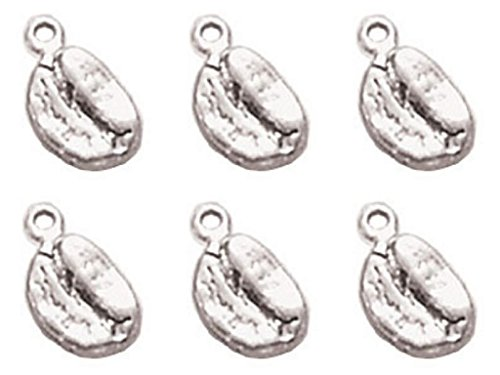 Earings Pewter (6 Pieces Silver 3D Coffee Bean Pewter Charm Pendant bracelets finding Jewelry Craft DIY)