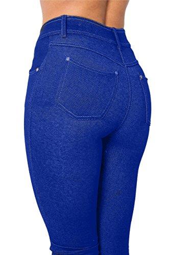 cintura Nuevo mujeres de para tela de con en elástica para diseño seguridad vaquera tira para de para de anclaje tela cama en estrecha una vaquera Leggi real azul Jeggings elástico sábana bajera de equipo mujer rfrq1x06