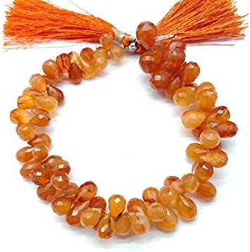 Carnelian Side Drilled Faceted Teardrops Shape 8 Inches Strand Size 8x6mm To 10x6mm