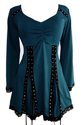 Dare to Wear Electra Corset Top: Victorian Gothic Steampunk Plus Size Women's Shirt for Everyday Halloween Cosplay Festivals, Dark Teal 1X -