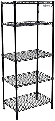 "SortWise ® 5-Tier 59"" H Black Adjustable Waterproof Steel Wire Shelving Storage Shelf System, with 4 Hook"