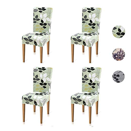 Xflyee Stretch Dining Room Chair Covers Jacquard Removable Washable Kitchen Parson Chair Slipcovers Set of 4 (B, 4 Pack)