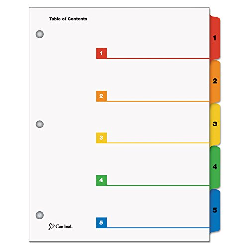 Cardinal 60538 Quickstep OneStep Bulk Index System, Title: 1-5, Letter, Multicolor, 24 Sets/Box