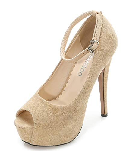 (Womens Ankle Strap Peep Toe Platform High Heel Dress Pumps Shoes for Party Evening Beige Size US6)