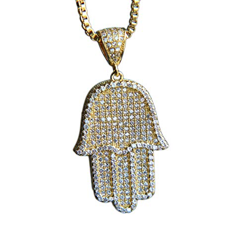 KOSMOLING Micro Pave Bling Cubic Zirconia Hamsa Hand Pendant Necklace for Men and Women, Gold Silver Color Hip Hop Iced Out Jewelry, 24