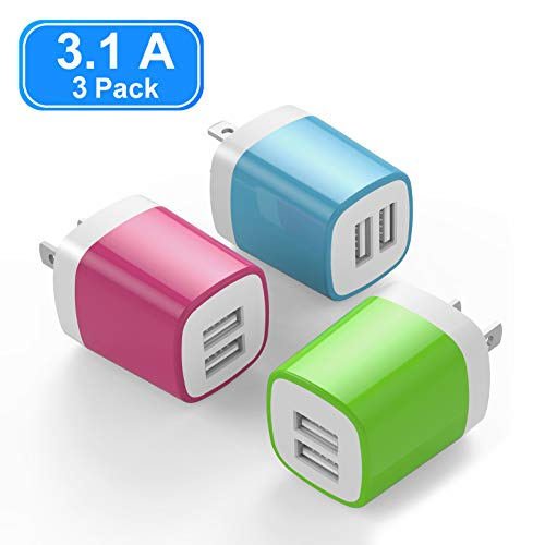 USB Wall Charger, Vogek 3.1A 3-Pack Dual Port USB Wall Charger Universal Power Adapter Compatible with Samsung Galaxy, LG, HTC, Huawei, Moto, Kindle, MP3, Bluetooth Speaker Headset (Blue-Green-Pink)