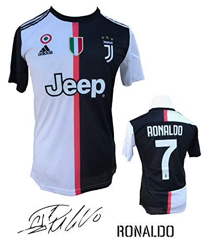c86abc474f3 Unica Juventus Ronaldo No. 7 Soccer Jersey 2019-20 from Serie A Calcio  d Italia - New Black and White Home Soccer Jersey 2019-20 (Black   White