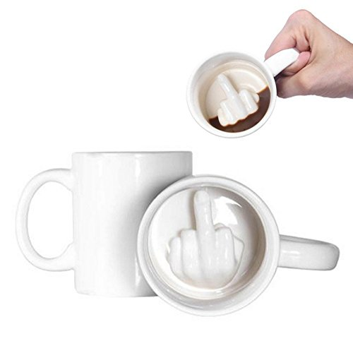 LUCKSTAR Middle Finger Cup - 350ml Ceramic Coffee Cup Up Yours Thumbs Up MIddle Finger Inside Tea Cups Ceramic Mugs Funny Cup for Milk Juice or Tea, White (Set of 2) 2 Tea Mugs