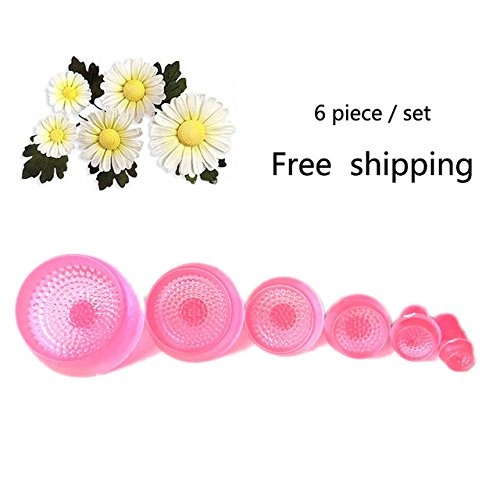 Flower Mold - Flower Molds - 6pcs/Set Daisy Flower Cookie Sunflower Plunger Cutter Sugarcraft Fondant Cake Tool Christmas Cake Decorating Tools - Silicone Molds -