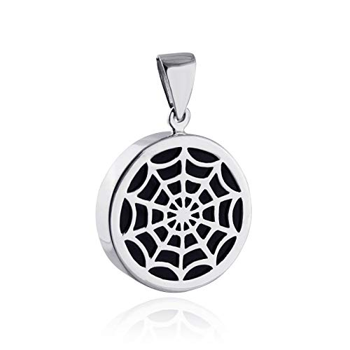 Spiderweb Pendant with Lab Onyx - 925 Sterling Silver Pendant Halloween Web - Jewelry Accessories Key Chain Bracelets Crafting Bracelet Necklace Pendants
