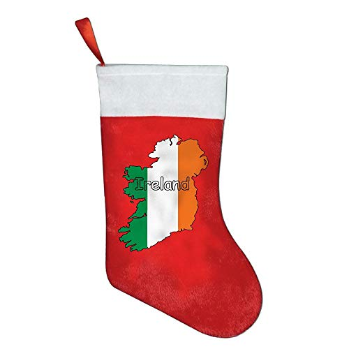 JE00PY& Christmas Sock, Cute Ireland Flag Map-1 Pleuche Hanging Stockings for Kids Gift Bags with Cuff