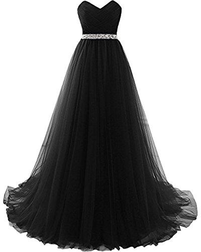 Yucou Women's Sweetheart Empire Waist Maxi Bridesmaid Dress for Beach Wedding Gowns Black,Size 20W ()