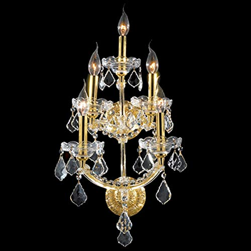 Brilliance Lighting and Chandeliers Maria Theresa Grand 5-Light Gold Finish and Clear Crystal 3-Tier Medium Candle Wall Sconce