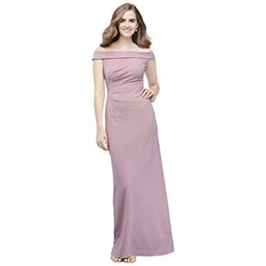 19f6384e8528 David's Bridal Off-The-Shoulder Stretch Crepe Ruched Bridesmaid Dress Style  AP2E205054, Dusty