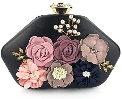 手作りの花イブニングクラッチ、ファッションパーティー相手バッグ、財布、結婚式のディナーバッグ、絶妙な縫製 美しいファッション (Color : Black)