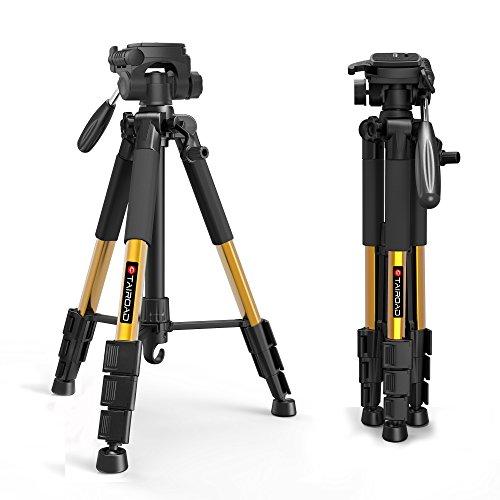 Tairoad Tripod 55″ Aluminum Lightweight Sturdy Tripod for DSLR EOS Canon Nikon Sony Samsung Max Capacity 11lbs (Glod)