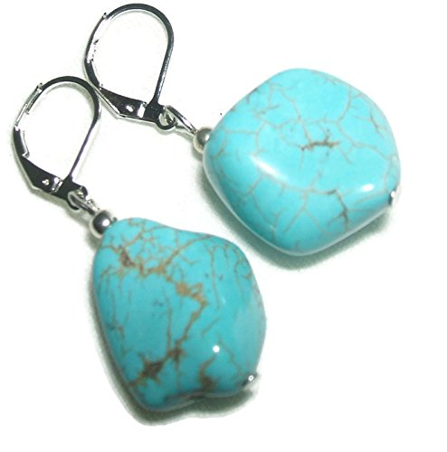 TURQUOISE BLUE STONE EARRINGS Drop Dangle BLUE GREEN Nuggets Silver Plt Leverbacks (Turquoise Nugget Natural Green Stones)