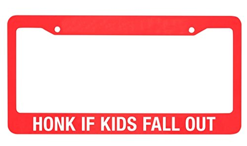 (About Face Designs About Say What-Honk If Kids Fall Out License Plate Holder, Multi-Color)
