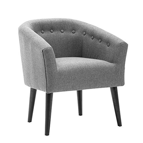 LSSBOUGHT Stylish Upholstered Button Tufted Fabric Living Room Accent Chair with Solid Wood Legs and Armrest, Gray