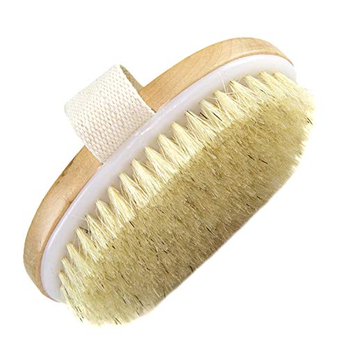 Natural Bristle Exfoliates Body Brush for Improves Skin's,Remove Dead Skin and Toxins, Cellulite Treatment, Improves Lymphatic Functions,Stimulates Blood Circulation 2019
