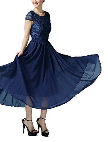 Olrain Women Floral Lace Top Big Swing Chiffon Skirt Maxi Long Dress (14, Blue)