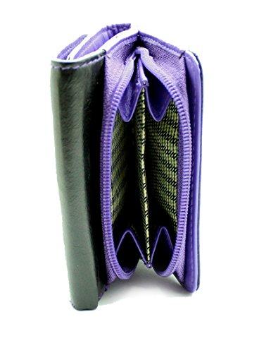 StarHide® Frauen Kompakte Echtes Leder Brieftasche Geldbörse Kreditkartenetui Mit Seitlichen Reißverschluss Münze Tasche Geschenkbox #5555 (Braun / Schwarz) Lila / Schwarz 9aXqV