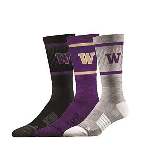- Elite Fan Shop Washington Huskies Socks 3-Pack - Mens (8-12) - Purple