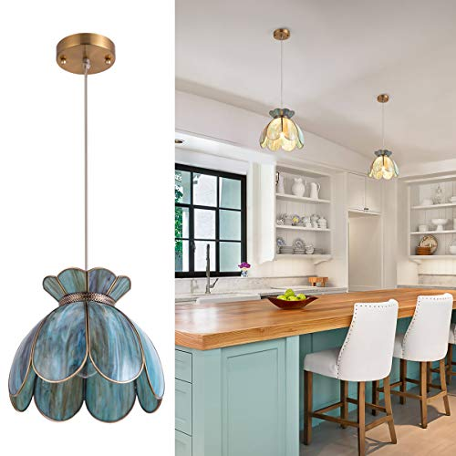 Pendant Light Copper (YIFI Pendant Light Brass Vintage Lotus Flower Adjustable Ceiling Pendant Light for Kitchen Island Dining Room Bedroom Living Room, Emerald)