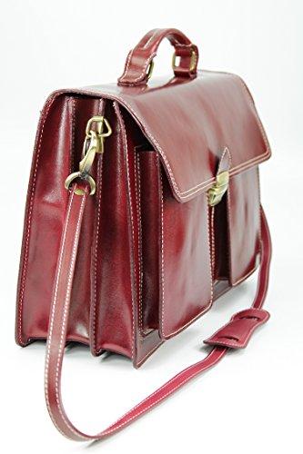 Belli Design Bag B - Maletín italiano unisex, piel, 40 x 30 x 14 cm (an. x al. x pr.), varios colores Rojo - Bordeaux dunkel