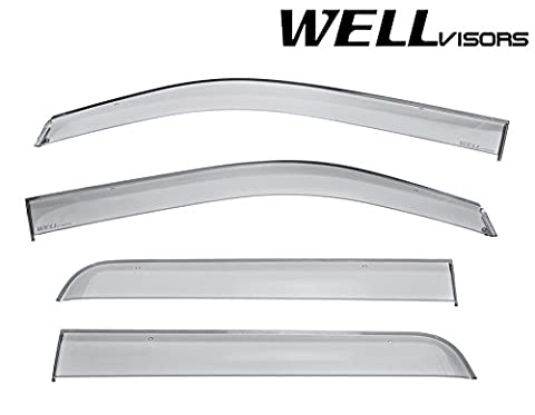 WellVisors Side Window Wind Deflector Visors - Ford F-150 Super Crew Cab 09-14 2009 2010 2011 2012 2013 2014 Premium - F-series Super Cab