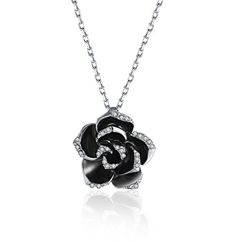 Dazzle flash Black Flower Costume Fashion Jewelry Sets for Women JGG012 (Silver Tone Necklace)