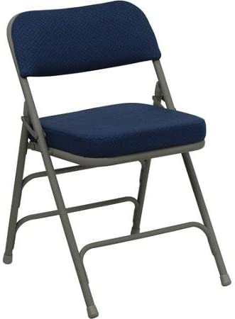 Amazon Com Hercules Hinged Fabric Padded Folding Chair 4 Pack Navy Blue Kitchen Dining