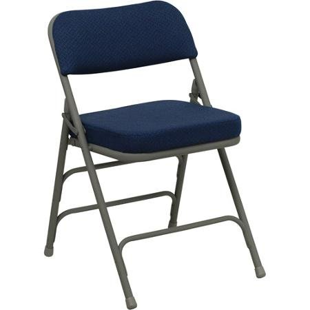 Hercules Hinged Fabric Padded Folding Chair - 4-Pack, Navy Blue by BLOSSOMZ