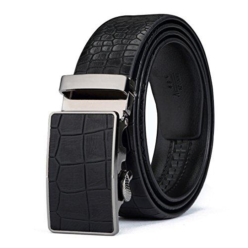 Leather Crocodile Belt (ITIEZY Men's Vintage Business Automatic Buckle Leather Belt with Crocodile)