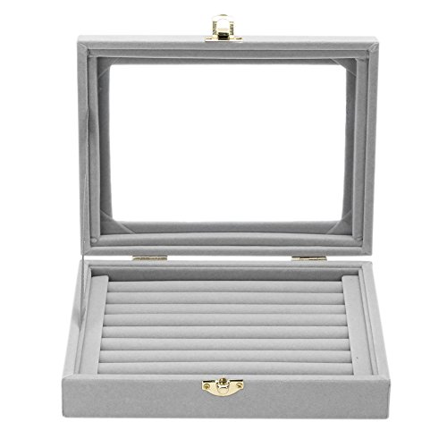 Jewelry Box Earring Display Case (Jocestyle Velvet Glass Ring Display Box Jewelry Holder Storage Organizer Case (04 Ring Box Gray))