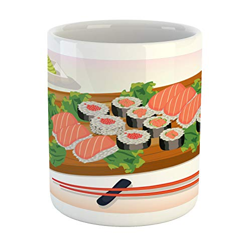 Ambesonne Wasabi Mug, Cartoon Plate of Traditional Food Sushi Indigenous Chopsticks, Printed Ceramic Coffee Mug Water Tea Drinks Cup, Multicolor