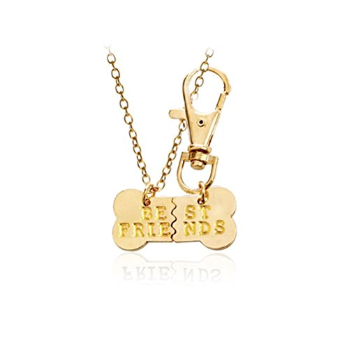 Tinksky 2pcs Dog Bone Design Best Friends Charm Necklace Keychain Friendship Jewelry, Christmas Birthday Thanksgiving day gift for friends (Golden)