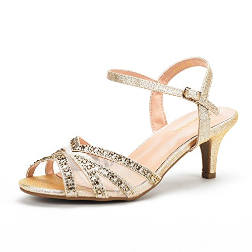 DREAM PAIRS Women's Nina-166 Gold Low Heel Pump Sandals - 7.5 M US
