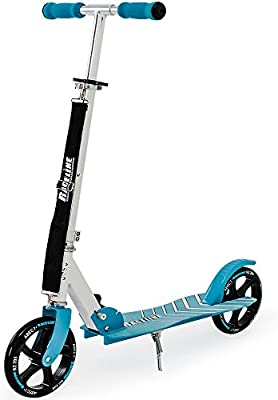 FUNSPORT Patinete para niños, de ciudad, para impulsarse con el pie, con correa de transporte, plegable, con ruedas de PU de 205 mm, varios diseños
