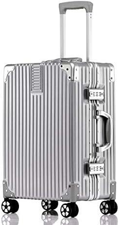 빌가 세 (Vilgazz) 여행 가방 알루미늄 프레임 가벼운 휴대용 케이스 충격 운반 케이스 기내 반입 캐리어 가방 인기 대형 TSA 자물쇠 저소음 여행 출장 헤어 라인 마무리 1 년 보증 / Vilgazz Suitcase Aluminum Frame Lightweight Carry Case Impac...