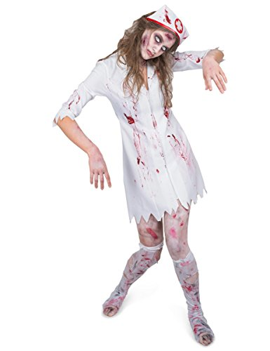 Karnival Women's Zombie Night Nurse Costume Set - Perfect for Halloween, Costume Party Accessory. Trick or Treating (Night Nurse Costume)