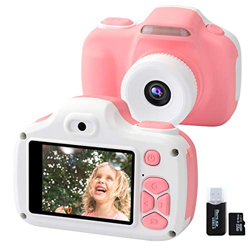 Kids Camera for Girls Gifts, 16.0MP Digital Selfie 1080P HD Video Camcorder for Children 3-12 Years Old Shockproof Mini Soft Silicone Learning Toy Cameras with Flash (16GB Memory Card Included) (Pink) (Best Learning Videos For 2 Year Olds)
