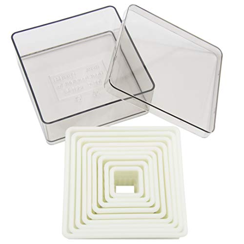 Square Cookie Cutter Set - 9 Piece Nylon Fondant Cutter Set Biscuit Cutter with Plastic Storage ()